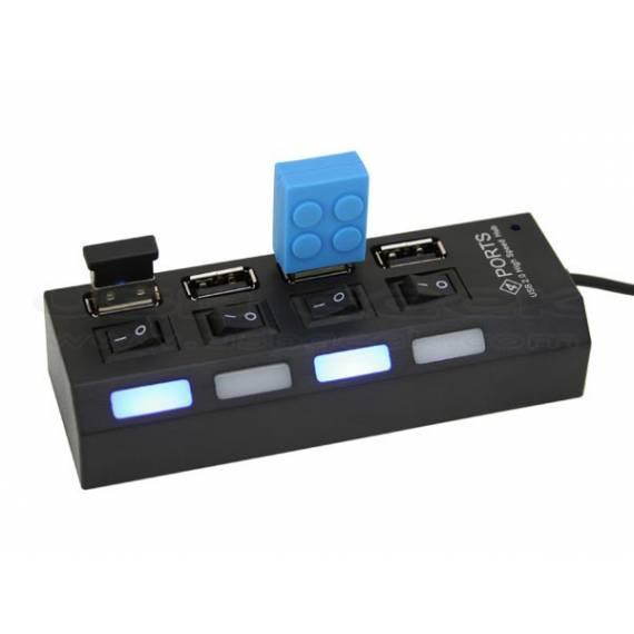 Ladrón Multipuerto 4 en 1 USB con Interruptor LED -  Anunciado en TV