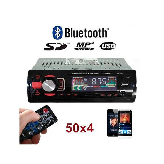 AutoRadio para Coche Reproducto MP3 Bluetooth Mando Distancia