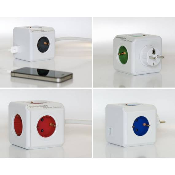 Power Cube 4 enchufes + Carga USB (azul) -  Anunciado en TV
