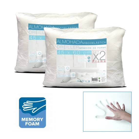Pack 2 Almohada Viscoelástica 45x60 cm teletienda outlet anunciado tv