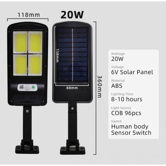 Lampara Foco Solar de 4 Led 20w Impermeable IP67