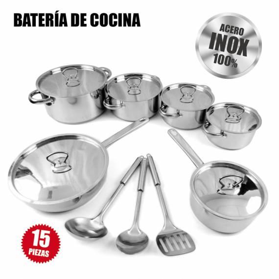 Batería de cocina 15 piezas Acero Inoxidable 48-MRCS-190 teletienda outlet anunciado tv
