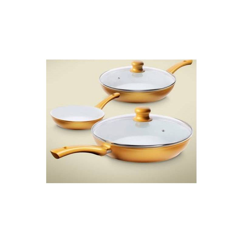 sarten ceramic gold set de 3 teletienda outlet anunciado tv
