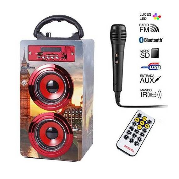 Samphone Altavoz Bluetooth Karaoke 10W BT-J8KB teletienda anunciado en tv outlet