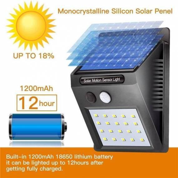 Luz Led Solar 20 led con Sensor Movimiento